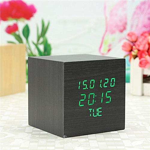 Wood Cube Led Alarm Control Digital Desk Clock Wooden Style Date Week Time
