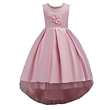 79fe69192ba3 Kids Girls Elegant Wedding Flower Girl Dress Princess Party Pageant Formal  Long Sleeveless Lace Tulle