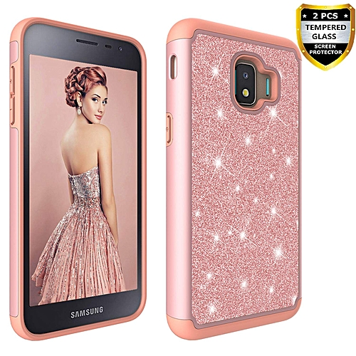 official photos ef5eb adff6 Samsung Galaxy J2 Core Case with Tempered Glass Screen Protector [2 Pack]  for Girls Women, Glitter Bling Hybrid Dual Layer Heavy Duty Protection Case  ...