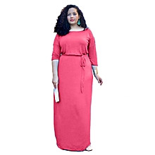 Summer O-Neck Elegant Maxi Dress Women Lace Up Women Casual Black Dress High Waist Plus Size Fashionable Dresses Vestidos-pink