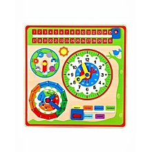 Wooden Calendar Clock Childrens Learning Educational Weather Seasons Toy
