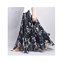 Fashion Women Bohemian Chiffon Floral Print Elastic Waist Ankle-length Swing Maxi Skirt 25