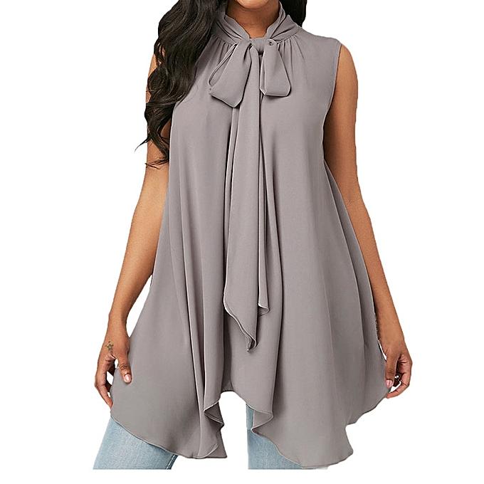 d0e4bbb8a81f2 ... Xiuxingzi Fashion Women Sleeveless Solid Asymmetric Chiffon Tie Neck  Tank Tops Blouse Vest ...