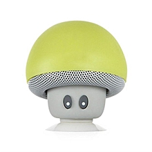 Mini Mushroom Portable BT V4.1 Waterproof Speaker Wireless Suction Cellphone Stand  Small Stereo for Smartphone (Green)
