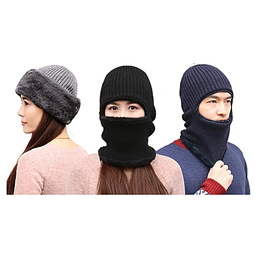 ba25bd8e80b Generic Knitted Hat Scarf Cap Neck Warmer Winter Siamese Hood Hats For Men  Women Skullies Beanies Fleece