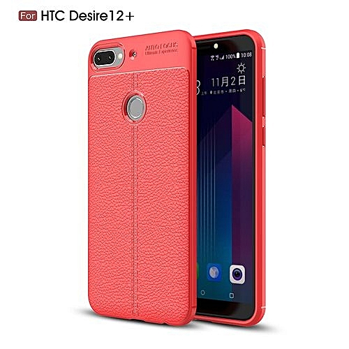 the best attitude 053a7 83c39 HTC Desire 12 Plus/Desire 12+ Silicone Case Litchi Pattern TPU Phone Back  Cover - Red