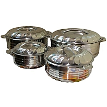 4 Piece Stainless Steel Food Server Hot Pots Set Casserole -Silver