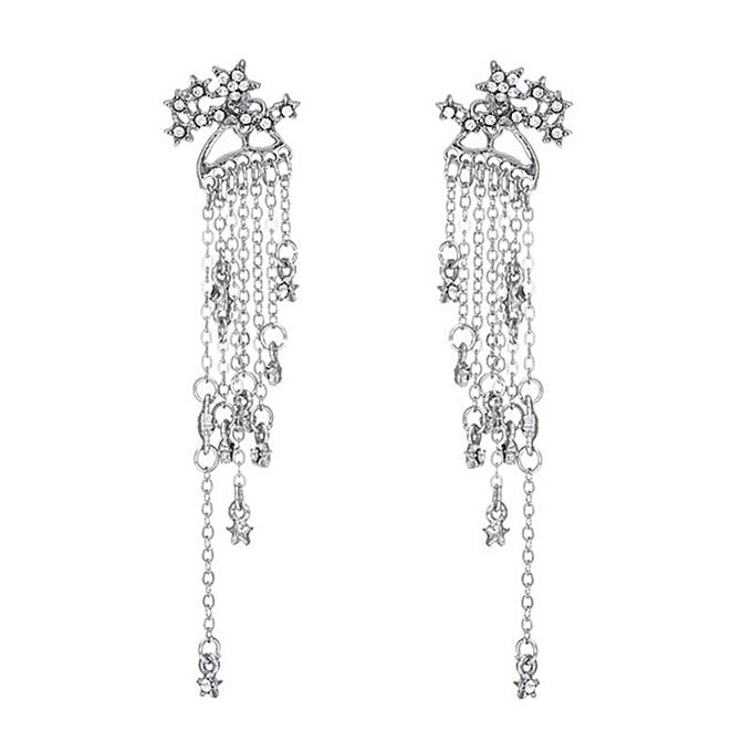 f72542f16 Women Fashion Diamond Pentagram Pendant Boutique Rear-mounted Tassel  Earrings