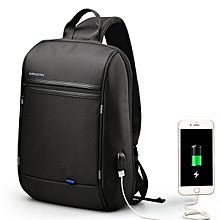Men Waterproof Laptop Chest Bag Crossbody Bag Travel Business Bag with USB Charging Port