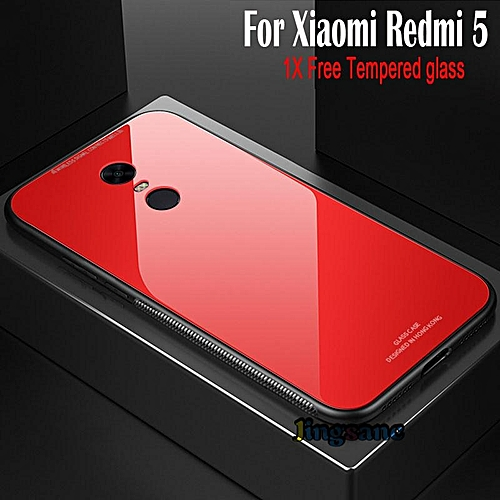 size 40 0e66a a226d For Xiaomi Redmi 5 Plus [Free Tempered Glass] Ultra Thin Hard Back Phone  Case Hybrid Glass+TPU Material Phone Case 281854 Color-1