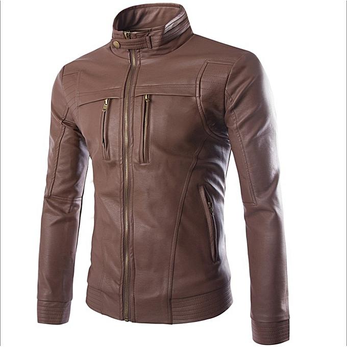 korean leather jacket for men slim-type vertical collar Street tide casual  business locomotive leather 96cef81610965