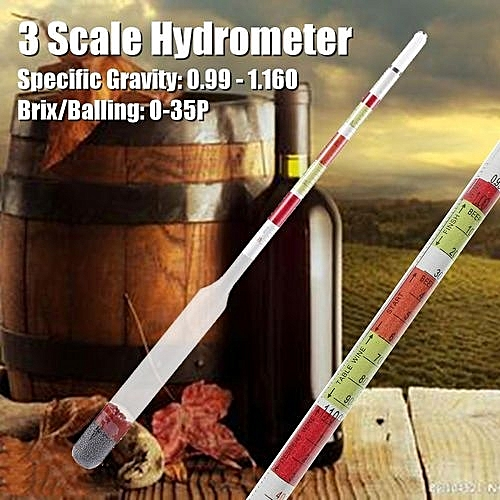 3 Scale Triple Hydrometer Transparent For Beer Wine Home Brewing Craft  Homebrew