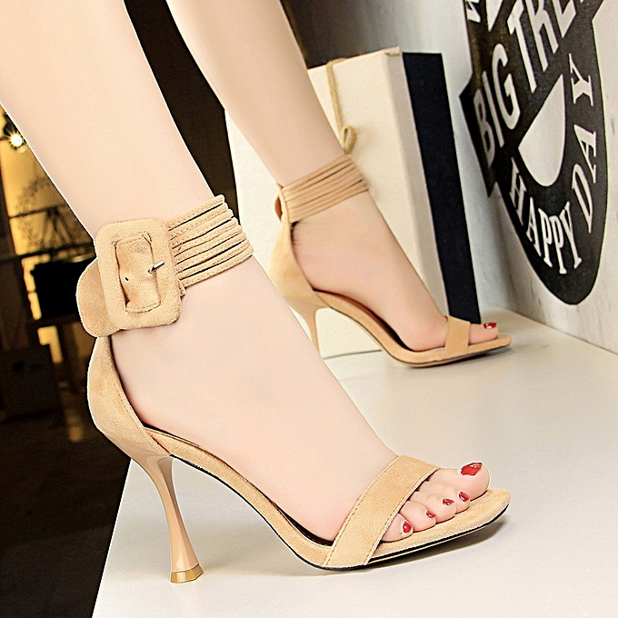 f0331084c8 Women Fashion Sexy Nightclub Shoes Wine Glass With High Heel Suede Belt  Word With Open Toe