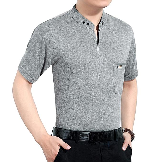 a6b23e01635 Fashion Men s Cotton Button Slim Collar Golf Shirt Casual Business Casual  Short Sleeved Tops