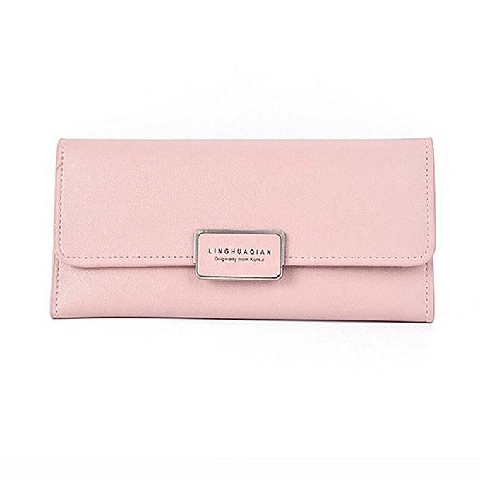 0203854a181 Women Long Style Wallet Large Capacity Solid Color Multi-Card Slots Purse  light pink