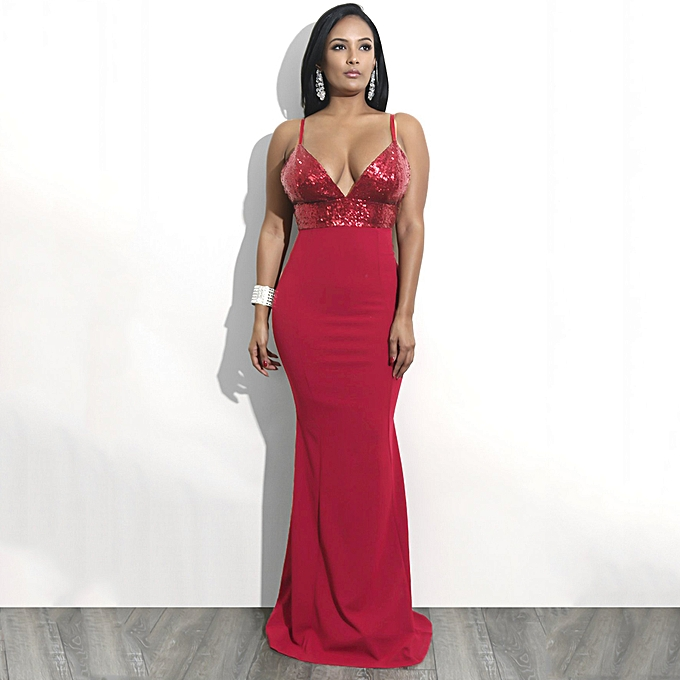 6d4cf3b4e838 Women Sexy Sequined V Neck Backless Dress Elegant Bodycon Night Party Club Maxi  Dress Black/