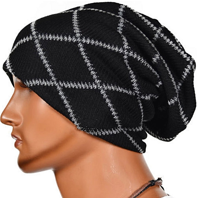 61d86202efc Unisex Women Men Knit Cap Winter Warm Ski Crochet Slouch Hat Oversized  Beanie US Black