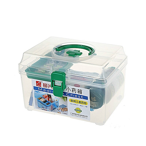 Family First Aid Box Emergency Kits Case Portable Medical Wound Treatment  Pills Bandages Storage Box for Home Car Travel(#WHITE)