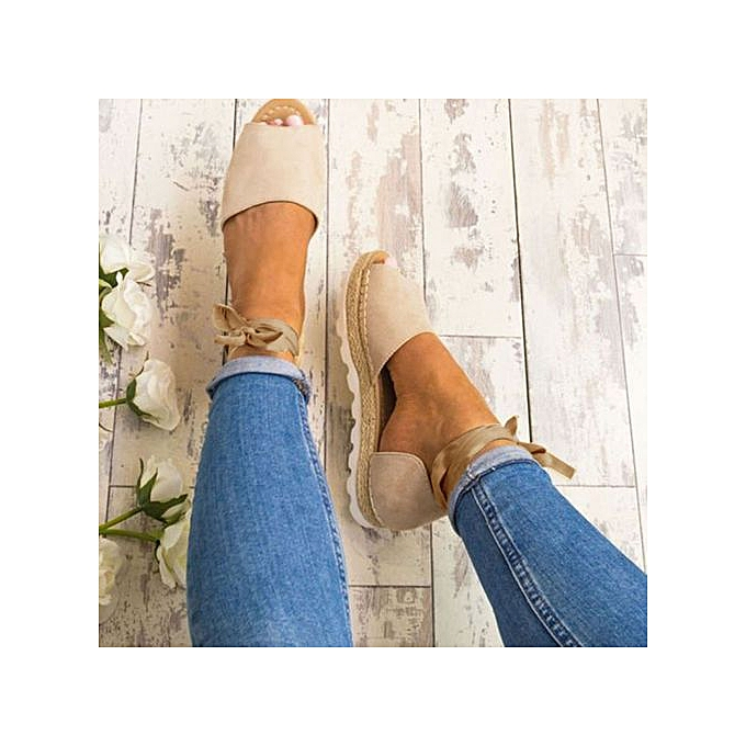 d4b83f6b1e LightningWomens Ladies Flat Lace Up Espadrilles Summer Chunky Holiday  Sandals Shoes Size -Beige
