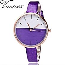 Fohting  Vansvar Women's Casual Quartz Leather Band Newv Strap Watch Analog Wrist Watch -Purple