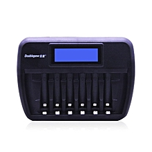 TA Doublepow Universal 6 Slots LCD Display AA AAA Rechargebale Battery Charger -black