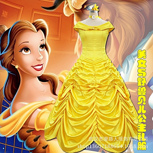 Fashion Princess Dress Baby Kids Fancy Party Christmas Halloween Costumes  Beauty Beast Cosplay Dress  Yellow