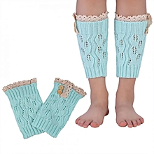 【Big Sale】1 Pair Double Button Short Leg Ankle Knitted Warmer Lace Trimming Boots Accessories (Blue)