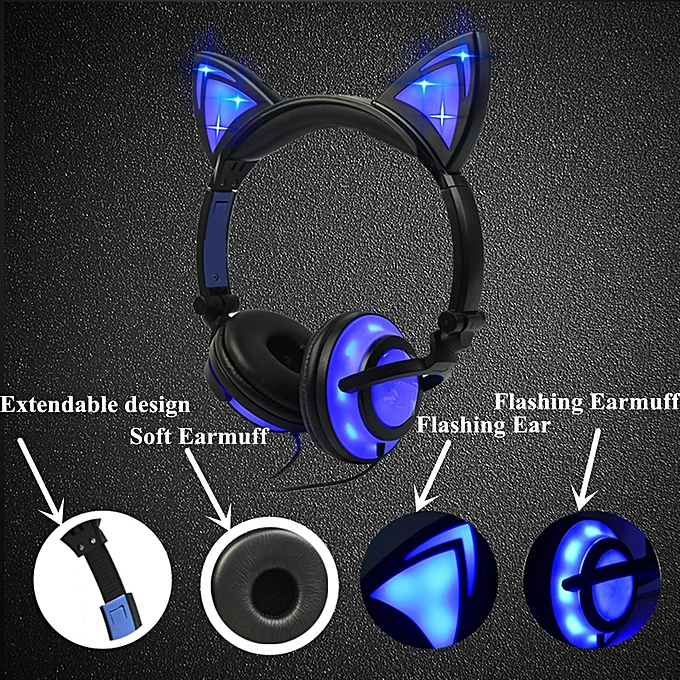 Glowing Light Cat Ear Headphones Stereo Cat Earphones 3 5mm Wired Gaming  Headset for PC Gamer Mobile Phone SP4 New XBOX Tablet(OLD VERSION PK)