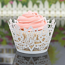 Christmas Candle Hollow Lace Cup Muffin Cake Paper Case Wraps Cupcake Wrapper