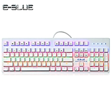 K757 Mechanical Keyboard for Gamers with Colorful LED Backlight 104 Keys - White