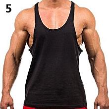 Men's Fashion Sports Vest Soft Cotton Gym Tank Tops Sexy Outdoor Exercise Shirt-Black
