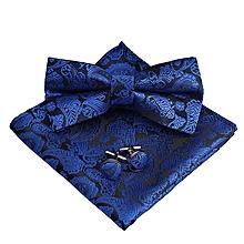 Men's Pre-Tied Paisley Bow Tie Pocket Square Cufflinks Set