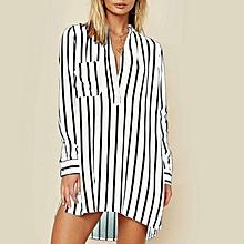 9c52eaacb57f ZANZEA Women Long Sleeve Stripe Casual Party Mini Dress Deep V Asymmetrical  Shirt Dress White
