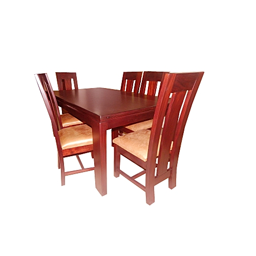 Makwembe Henley Dining Table With 6 Chairs 104 X 183 76 Mahogany