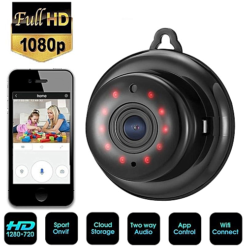 Lightweight V380 1080P HD Night Vision Network Camera Wifi Mini Camera  (Black) TXSHOP