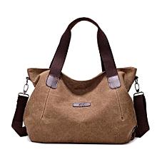 Retro Canvas Handbag Women Single Shoulder Bag -Brown