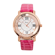 Pink Shiny PU Leather Strap Watch.