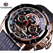 Forsining GMT872-2 Multifunction Tourbillon Date Day Display Rose Golden Watch Men Luxury Brand Automatic Watch Fashion Men Sport Watches JY-M