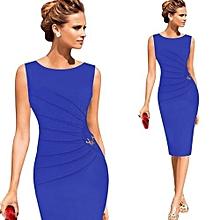 Women Ruched Metal-Trim Sheath Dress - Blue