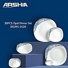 30PCS Opal Dinner Set - Blue & White