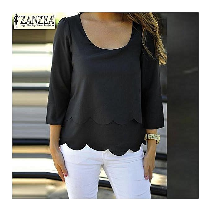 4d00ff6c8f8 ZANZEA Women Elegant Blouses Design Ladies O Neck 3 4 Sleeve Back Waves Cut  Split
