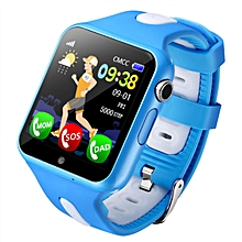 V5K Children Anti-lost GPS Tracker Locator Smart Watch SOS GSM Phone Kid Baby Touch Screen Smartwatch Support SIM For Android IOS(Blue+White)