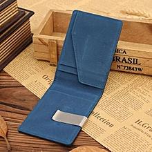 Fohting Mens Leather Magic Credit Card ID Holder Money Clip Wallet BU -Blue