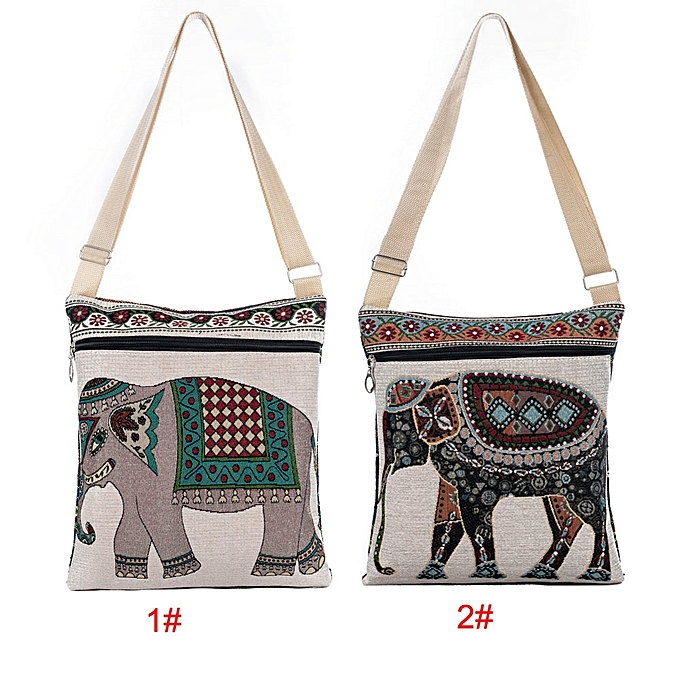 4591dd0f9c78 Retro Women Canvas Crossbody Bag Embroidered Elephant Print Zipper Shopping  Travel Shoulder Bag