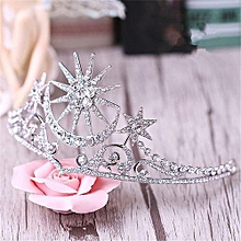 Shining Star Moon Queen Tiara Bridal Wedding Crown Hairband Baroque Hair Accessories Women Pageant Prom Hair Jewelry