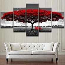 5PCS Framed Home Decor Canvas Print Painting Wall Art Modern Red Tree Scenery Bench-20x35cm(2pcs)+20x45cm(2pcs)+20x55cm(1pc)