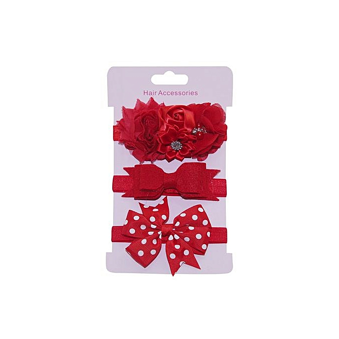 616cecf476a Braveayong 3Pcs Kids Elastic Floral Headband Hair Girls Baby Bowknot  Hairband Set -Red