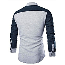 Fashion Mens Luxury Long Sleeve Shirt Casual Slim Fit Stylish Blouse Shirts Tops- White   L