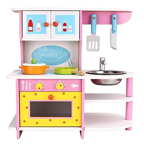 cb3ad5b050d Generic LARGE GIRLS KIDS PINK WOODEN PLAY KITCHEN ROLE PLAY PRETEND SET TOY  CHILDREN