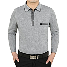 Mens 100% Cotton Turn-down Collar Long Sleeve Tops Fitness Thin Casual Work T-Shirts